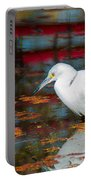 Snowy Egret Stalking His Lunch Portable Battery Charger