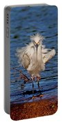 Snowy Egret With Yellow Feet Portable Battery Charger