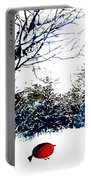 Snowy Forest At Christmas Time Portable Battery Charger