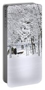 Snowy Lane In Winter Park Portable Battery Charger