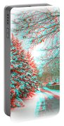 Snowy Lane - Use Red/cyan Filtered 3d Glasses Portable Battery Charger