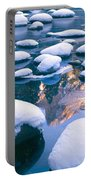 Snowy Merced River With Reflection Portable Battery Charger