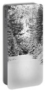 Snowy Mountain Road - Black And White Portable Battery Charger