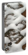 Snowy Path And Paw Prints Portable Battery Charger