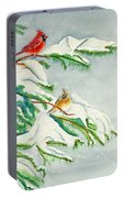 Snowy Pines And Cardinals Portable Battery Charger
