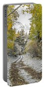 Snowy Road In Fall Portable Battery Charger