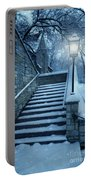 Snowy Stairway Portable Battery Charger