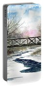 Snowy Train Bridge Portable Battery Charger