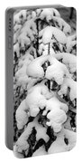 Snowy Tree - Black And White Portable Battery Charger