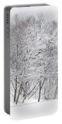 Snowy Trees In Winter Park Portable Battery Charger
