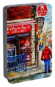 Snowy Walk By The Tea Room And Pastry Shop Winter Street Montreal Art Carole Spandau  Portable Battery Charger