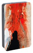 Solitary Man - Red And Black Abstract Art Portable Battery Charger
