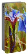 Alaskan Wild Iris And Blue Butterfly Flower Painting Portable Battery Charger