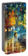 Soul Of The Rain - Palette Knife Oil Painting On Canvas By Leonid Afremov Portable Battery Charger