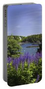 South Bristol And Lupine Flowers On The Coast Of Maine Portable Battery Charger