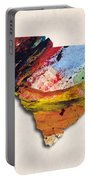 South Carolina Map Art - Painted Map Of South Carolina Portable Battery Charger