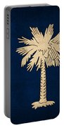 South Carolina State Flag Art On Worn Canvas Portable Battery Charger