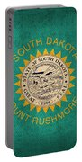South Dakota State Flag Art On Worn Canvas Portable Battery Charger