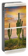 Southwest Desert Sunset White Rustic Distressed Window Art Portable Battery Charger