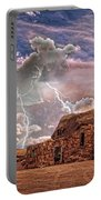 Southwest Navajo Rock House And Lightning Strikes Hdr Portable Battery Charger