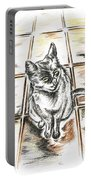 Spanish Cat Waiting Portable Battery Charger
