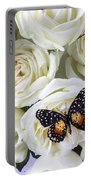 Speckled Butterfly On White Rose Portable Battery Charger by Garry Gay