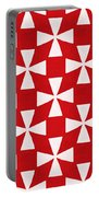Spice Twirl- Red And White Pattern Portable Battery Charger by Linda Woods