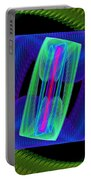 Spiral Vortex Green And Blue Fractal Flame Portable Battery Charger
