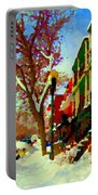 Splendor And Colors Of Quebec Winters Verdun Montreal Urban Street Scene Carole Spandau Portable Battery Charger