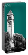 Spokane Skyline Clock Tower - Sea Green Portable Battery Charger