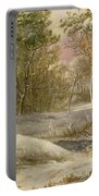 Sportsmen In A Winter Forest Portable Battery Charger