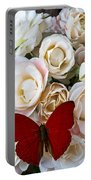 Spray Roses And Red Butterfly Portable Battery Charger