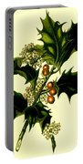 Sprig Of Holly With Berries And Flowers Vintage Poster Portable Battery Charger