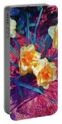 Spring Daffodils On Red - Horizontal Portable Battery Charger