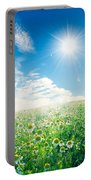 Spring Meadow Under Sunny Blue Sky Portable Battery Charger