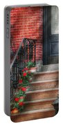 Spring - Porch - Hoboken Nj - Geraniums On Stairs Portable Battery Charger