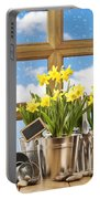 Spring Window Portable Battery Charger by Amanda Elwell
