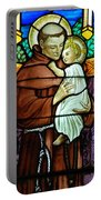 St Anthony In Stained Glass Portable Battery Charger