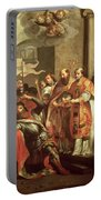 St. Bernard Of Clairvaux 1090-1153 And William X 1099-1137 Duke Of Aquitaine Oil On Canvas Portable Battery Charger
