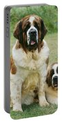 St Bernard With Puppy Portable Battery Charger