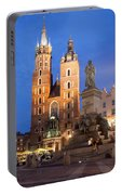 St Mary Basilica And Adam Mickiewicz Monument At Night In Krakow Portable Battery Charger