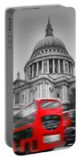St Pauls Cathedral In London Uk Red Buses In Motion Portable Battery Charger