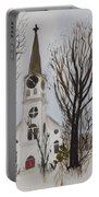 St. Pauls Church In Barton Vt In Winter Portable Battery Charger