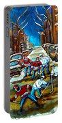 St Urbain Street Boys Playing Hockey Portable Battery Charger by Carole Spandau
