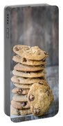 Stack Of Chocolate Chip Cookies With One Leaning Kitchen Art Portable Battery Charger
