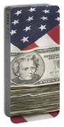 Stack Of Money On American Flag  Portable Battery Charger