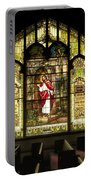 Stain Glass Behold I Stand At The Door And Knock Portable Battery Charger