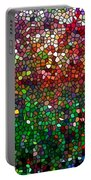 Stained Glass  Fall Reflected In The Still Waters Portable Battery Charger