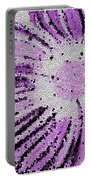 Stained Glass Flower With Purple Stripes Portable Battery Charger
