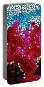 Stained Glass Red Sunflowers Portable Battery Charger